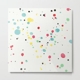 Watercolor splatters on white leather Metal Print