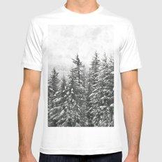 Winter Woods MEDIUM White Mens Fitted Tee
