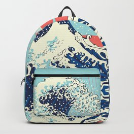 The Great Wave off Kanagawa stormy ocean with big waves Backpack