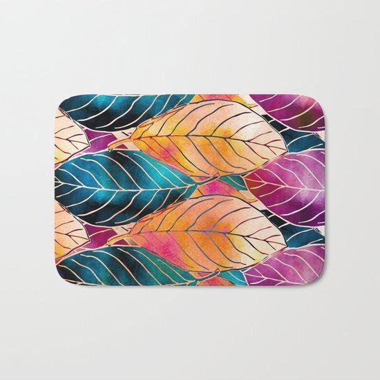 Colorful Leaves Pattern Bath Mat