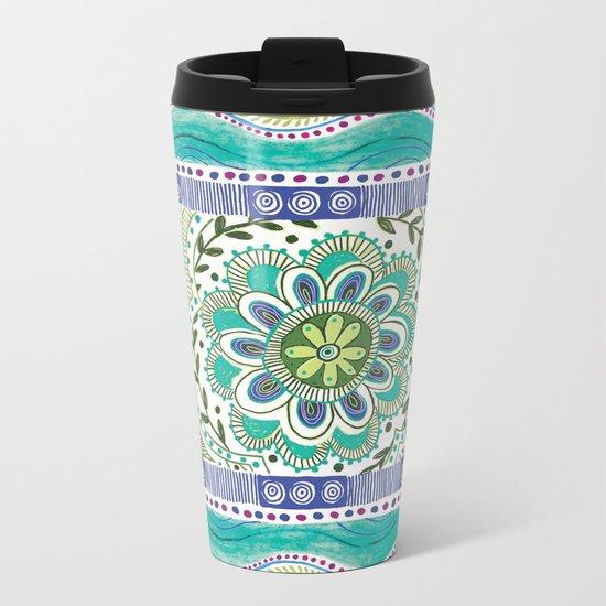 Boho Bloom Metal Travel Mug