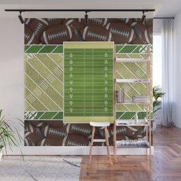 Sunbeam Yellow Football Field and Footballs Wall Mural