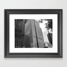 Black & White Close up View of Skyscraper Framed Art Print