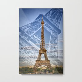 Eiffel Tower Double Exposure II Metal Print