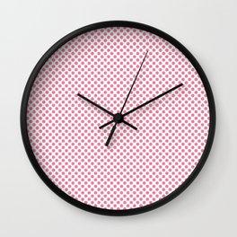 Morning Glory Pink Polka Dots Wall Clock