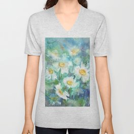 watercolor drawing - white daisies on a blue and green background, beautiful bouquet, painting Unisex V-Neck
