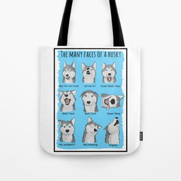 The many faces of a husky Tote Bag