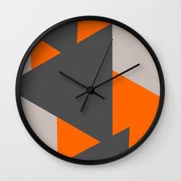 Orange and Grey Triangles Wall Clock
