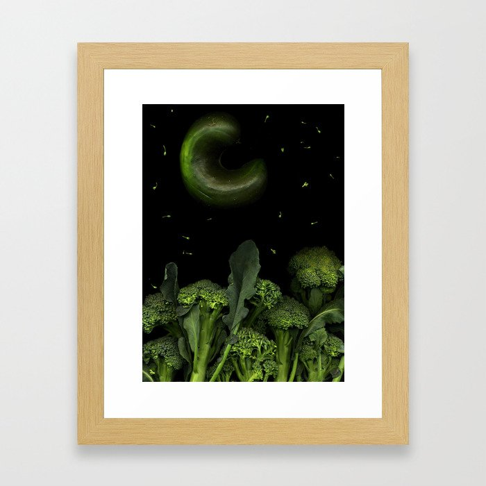 Moon over Broccoli Framed Art Print