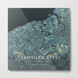 Taoyuan City, Taiwan - Cream Blue Metal Print