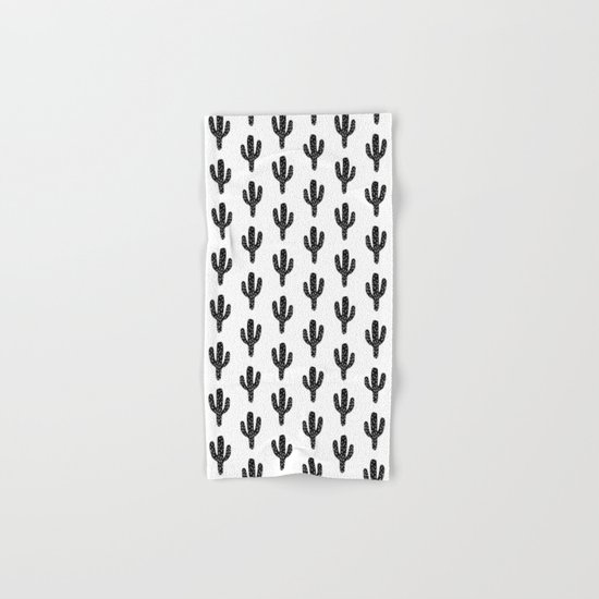 Linocut Cactus black and white minimal modern printmaking trendy hipster canvas dorm college art Hand & Bath Towel
