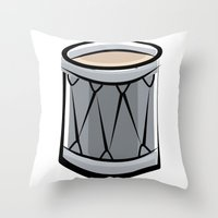 drum Throw Pillows featuring Drum by shopaholic chick