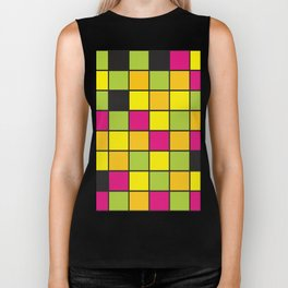 Bright neon colors square pattern Biker Tank