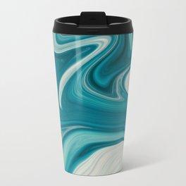 Blue Marbled Abstract Travel Mug