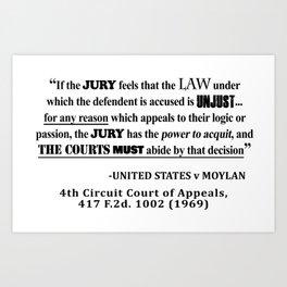 Jury Nullificaton Case Law Quote Art Print