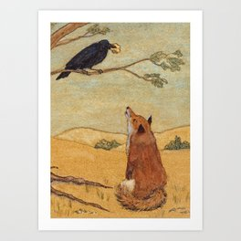 Fox and Crow, Aesop's Fable Illustration in the style of Arthur Rackham and Howard Pyle Art Print