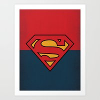 dc comics Art Prints featuring Super Man Logo Minimalist Art Print DC Comics by The Retro Inc