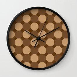 Brown Octagons Wall Clock
