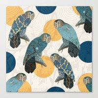 mandie manzano Canvas Prints featuring Night Owl Polka by Paula Belle Flores