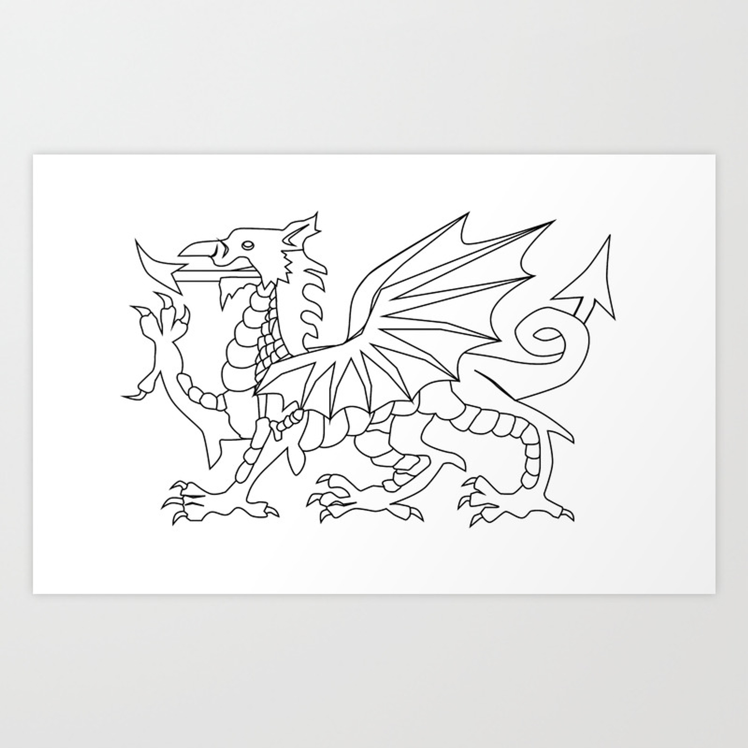 Welsh Dragon Outline Art Print By Homestead Society6
