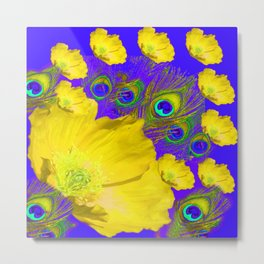 YELLOW POPPY FLOWERS BLUE PEACOCK ABASTRACT FLORAL ART Metal Print
