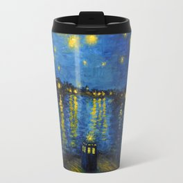 Starry Night Over Cardiff Bay Travel Mug