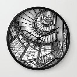 Rookery Building Frank Lloyd Wright Stairway & Glass Windows black and white photography  Wall Clock