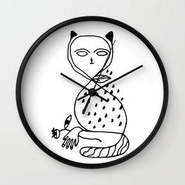 Graphic black white line art cat Wall Clock