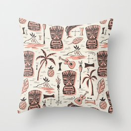 Tropical Tiki - Cream Pink Throw Pillow