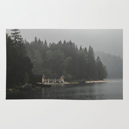 Foggy mornings at the lake II - landscape photography Rug