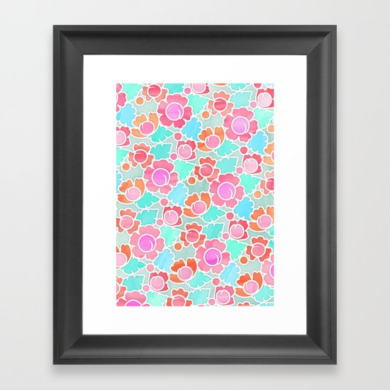 Pastel Tropical Floral Pattern Design with watercolor texture Framed Art Print