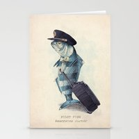 hat Stationery Cards featuring The Pilot by Eric Fan