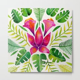 Tropical Symmetry – Pink & Green Metal Print