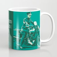 palestine Mugs featuring T.E. Lawrence on his Brough Superior by Saddle Bums