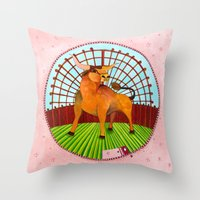 taurus Throw Pillows featuring Taurus by Sandra Nascimento