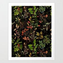 Vintage & Shabby Chic - vintage botanical wildflowers and berries on black Art Print