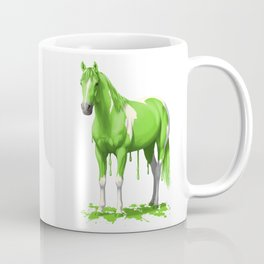 Lime Green Pinto Dripping Wet Paint Horse Coffee Mug