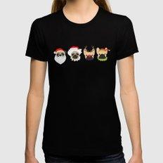 Christmas Pug And Bulldog Black Womens Fitted Tee MEDIUM