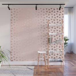 Rose Gold Pastel Pink Foil Paint Line Dots XIV Wall Mural