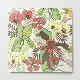Tropical flowers and leaves. Orchids and hibiscuses. Metal Print