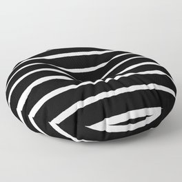 Rough White Thin Stripes on Black Floor Pillow