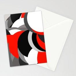 black white grey red geometric digital art Stationery Cards