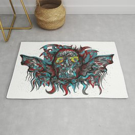 Abstract Skull Ink White Rug