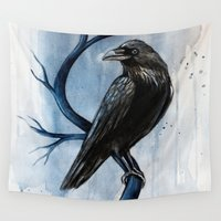 raven Wall Tapestries featuring raven by Black Fury