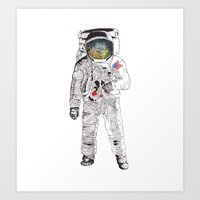 astronaut Art Prints featuring Astronaut by James White
