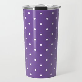 Small White Polka Dots with Purple Background Travel Mug