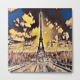 The Eiffel Tower in Gloomy Light Metal Print