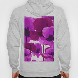 Purple And Dark Red Poppies on White Background in Vivid Colors #decor #society6 #buyart Hoody
