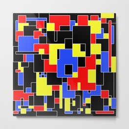 Primary Plans - Abstract, geometric map in primary colours Metal Print