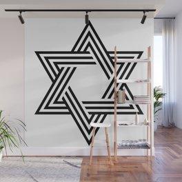 Six Stripe Hexagram Black and White Wall Mural